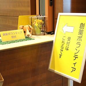 創薬ボランティア受付前にある黄色い看板写真